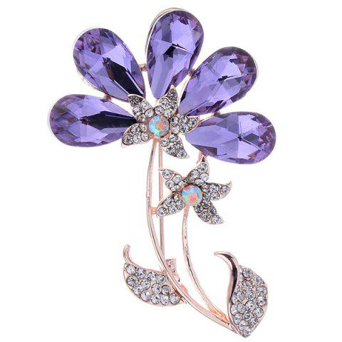 Outfits Faux Amethyst Flower Shape Design Brooch - PURPLE  Mobile