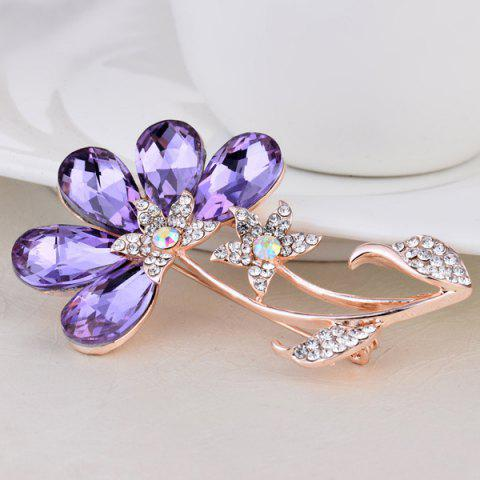 Best Faux Amethyst Flower Shape Design Brooch - PURPLE  Mobile