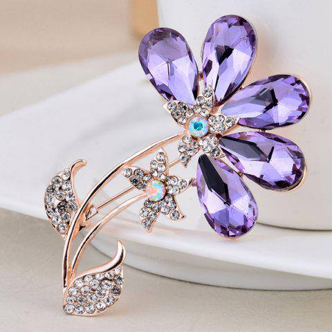 Unique Faux Amethyst Flower Shape Design Brooch - PURPLE  Mobile