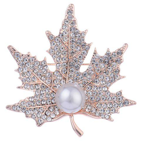 Unique Faux Pearl Rhinestone Maple Leaf Shape Design Brooch GOLDEN