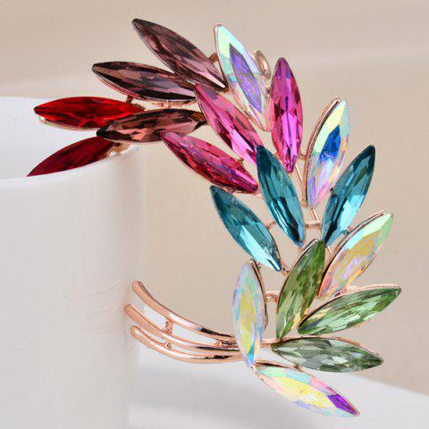 Cheap Colorful Faux Crystal Curved Leaf Shape Design Brooch - COLORFUL  Mobile