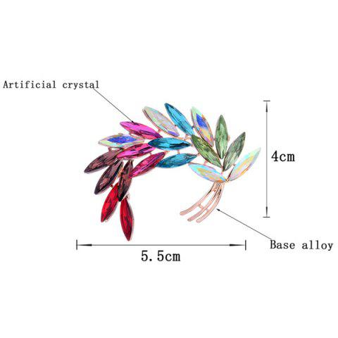 Discount Colorful Faux Crystal Curved Leaf Shape Design Brooch - COLORFUL  Mobile