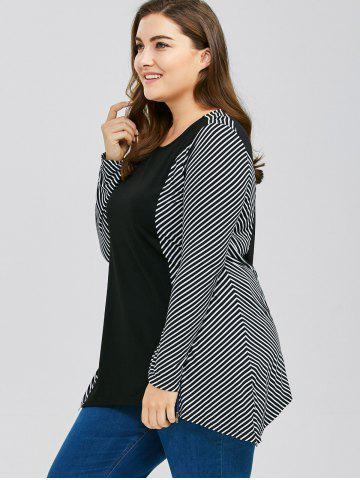 Cheap Plus Size Zip Decorated Striped Trim T-Shirt - 2XL STRIPE Mobile