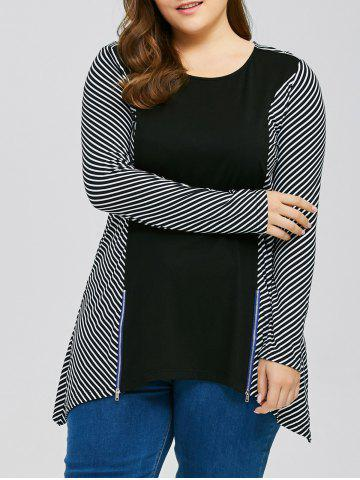 Unique Plus Size Zip Decorated Striped Trim T-Shirt - 2XL STRIPE Mobile