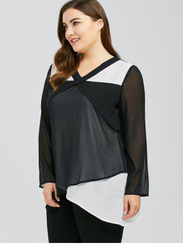 Store Plus Size Overlap Two Tone Blouse - 3XL WHITE AND BLACK Mobile