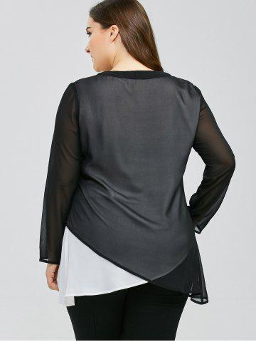 Buy Plus Size Overlap Two Tone Blouse - 3XL WHITE AND BLACK Mobile
