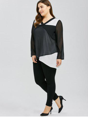 Hot Plus Size Overlap Two Tone Blouse - 3XL WHITE AND BLACK Mobile