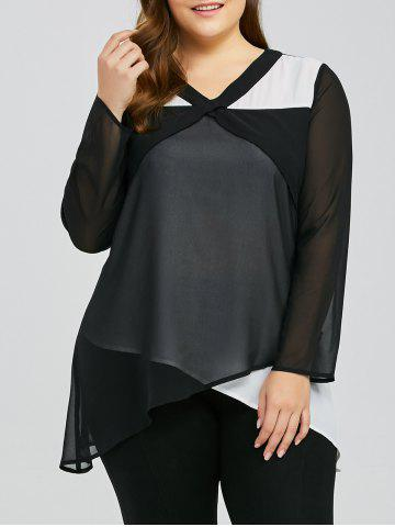 Affordable Plus Size Overlap Two Tone Blouse - 3XL WHITE AND BLACK Mobile