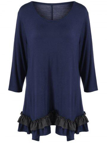 Store Plus Size Flounced Layered T-Shirt - XL PURPLISH BLUE Mobile