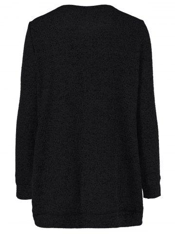 New Long Sleeve Plus Size Button Up Overlap Cardigan - 3XL BLACK Mobile