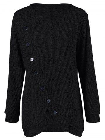 Long Sleeve Plus Size Button Up Overlap Cardigan - Black - Xl