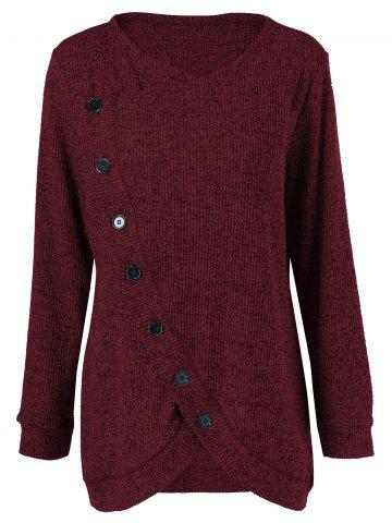 Sale Long Sleeve Plus Size Button Up Overlap Cardigan - 4XL DARK RED Mobile