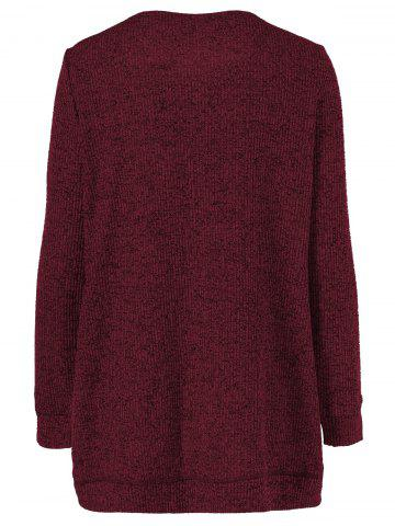 Fancy Long Sleeve Plus Size Button Up Overlap Cardigan - XL DARK RED Mobile