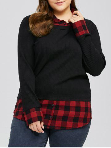 Best Plus Size Plaid Trim Knitwear - 4XL RED WITH BLACK Mobile