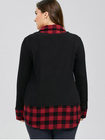 Online Plus Size Plaid Trim Knitwear - 4XL RED WITH BLACK Mobile