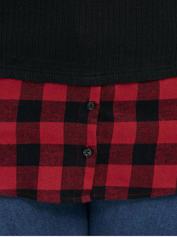 Best Plus Size Plaid Trim Knitwear - 2XL RED WITH BLACK Mobile