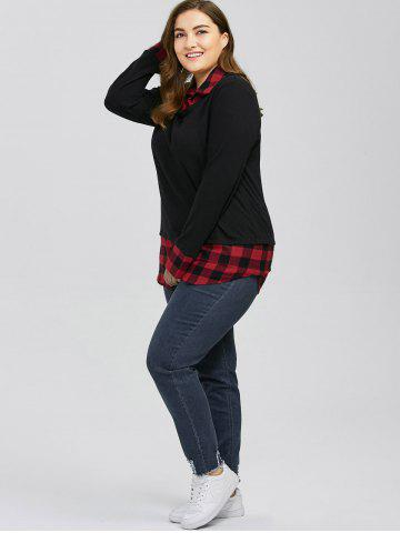 Best Plus Size Plaid Trim Knitwear - XL RED WITH BLACK Mobile