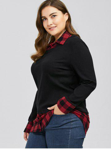 Discount Plus Size Plaid Trim Knitwear - XL RED WITH BLACK Mobile