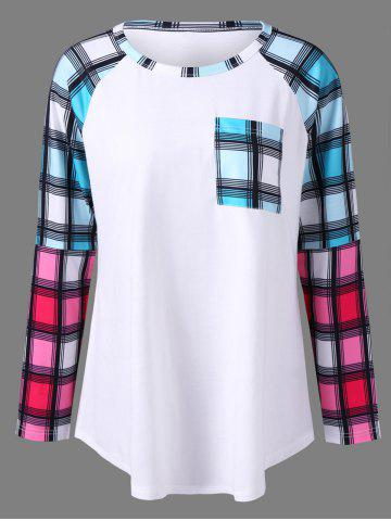 Shop Plus Size Raglan Sleeves Long Plaid T-Shirt - 4XL WHITE Mobile