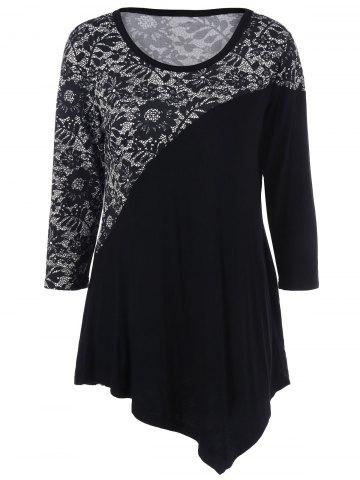 Shop Floral Trim Asymmetrical T-Shirt - M BLACK Mobile