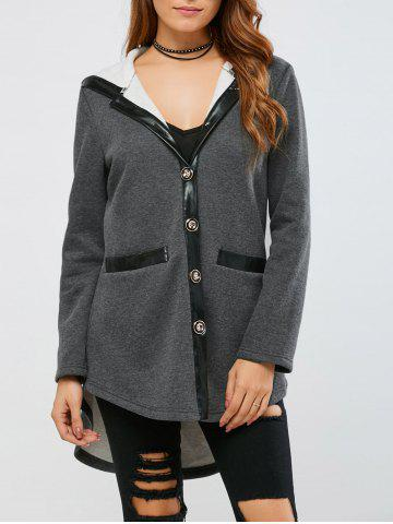 Outfits Back Slit High Low Hem Hooded Coat - M MOUSE GREY Mobile