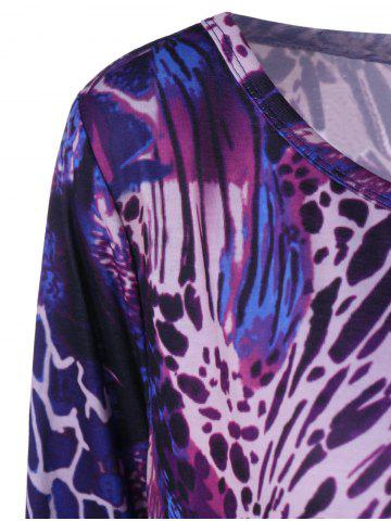 Discount Cool Long Sleeve Abstract Leopard Pattern Asymmetrical T-Shirt - 3XL COLORMIX Mobile