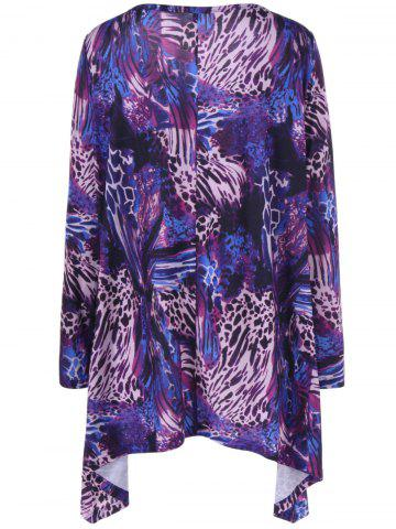 Outfits Cool Long Sleeve Abstract Leopard Pattern Asymmetrical T-Shirt - XL COLORMIX Mobile
