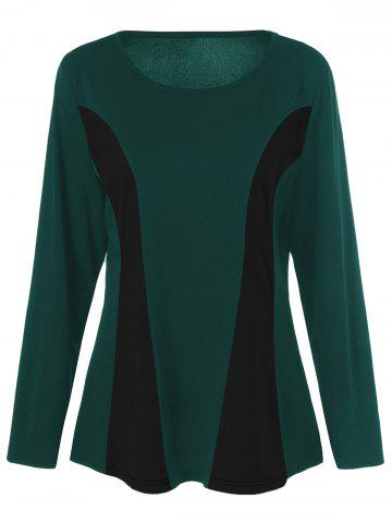 Trendy Plus Size Long Sleeves Color Block T-Shirt - 3XL BLACK AND GREEN Mobile