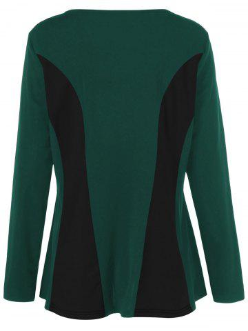 Sale Plus Size Long Sleeves Color Block T-Shirt - 2XL BLACK AND GREEN Mobile