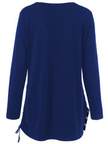 Trendy Plus Size Cowl Neck Striped Tunic T-Shirt - 2XL DEEP BLUE Mobile