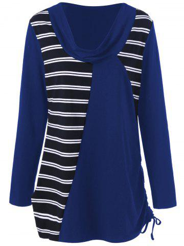 Trendy Plus Size Cowl Neck Striped Tunic T-Shirt - XL DEEP BLUE Mobile