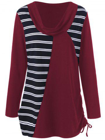 Latest Plus Size Cowl Neck Striped Tunic T-Shirt - 2XL DEEP RED Mobile