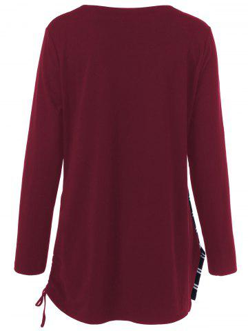 New Plus Size Cowl Neck Striped Tunic T-Shirt - XL DEEP RED Mobile