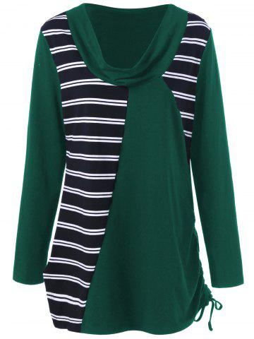 New Plus Size Cowl Neck Striped Tunic T-Shirt - 5XL GREEN Mobile