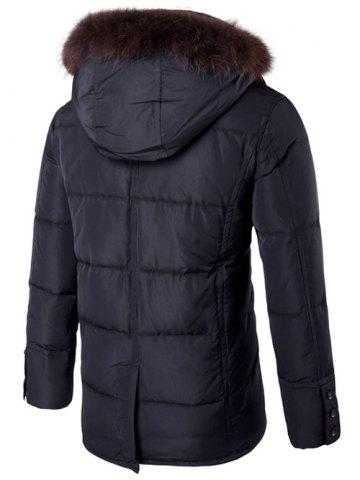 Discount Furry Hood Single Padded Breasted Down Coat - XL BLACK Mobile