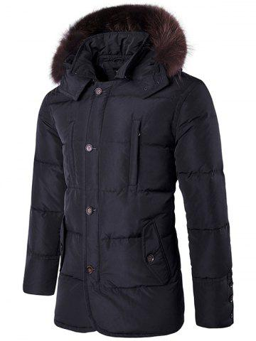 Furry Hood Single Padded Breasted Down Coat - Black - M