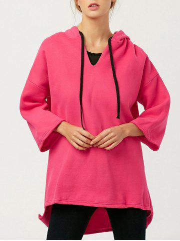 Chic Wool Blend High-Low Long Hoodie - ONE SIZE RED Mobile