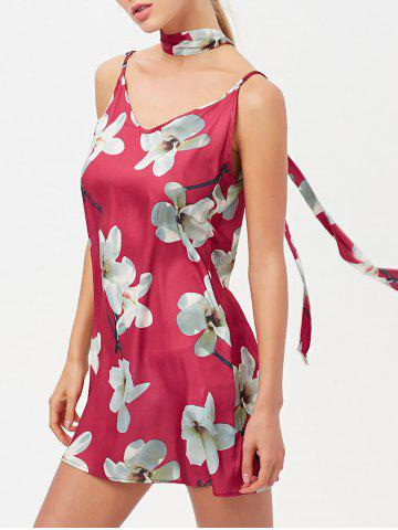 Trendy Floral Cami Mini Satin Slip Short Dress With Choker