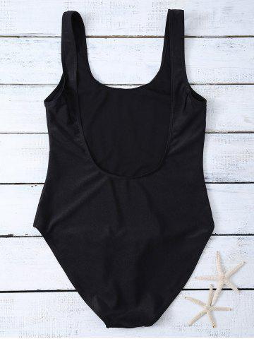 New High Cut Letter Unlined One Piece Swimsuit - M BLACK Mobile