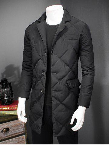 Latest Revere Collar Button Up Diamond Padded Quilted Coat - 4XL BLACK Mobile