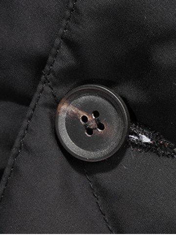 Fashion Revere Collar Button Up Diamond Padded Quilted Coat - 4XL BLACK Mobile