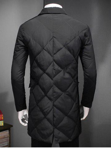 Shop Revere Collar Button Up Diamond Padded Quilted Coat - 4XL BLACK Mobile