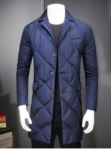 Shop Revere Collar Button Up Diamond Padded Quilted Coat - XL DEEP BLUE Mobile