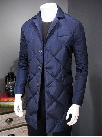 Hot Revere Collar Button Up Diamond Padded Quilted Coat - XL DEEP BLUE Mobile