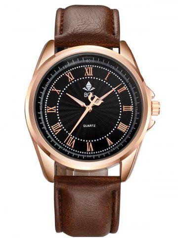 Brief Faux Leather Roman Numerals Waterproof Watch - Black And Brown