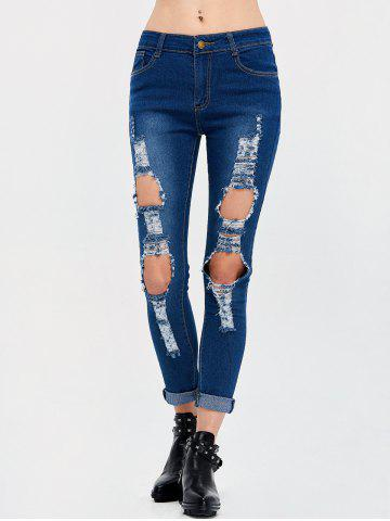 Outfit High Rise Destroyed Pencil Jeans - 2XL DEEP BLUE Mobile
