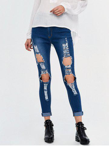 Cheap High Rise Destroyed Pencil Jeans - 2XL DEEP BLUE Mobile