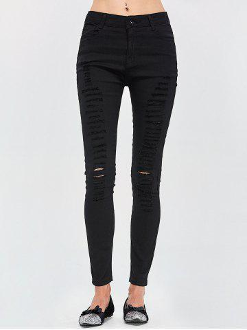 Fashion High Rise Destroyed Jeans - 2XL BLACK Mobile