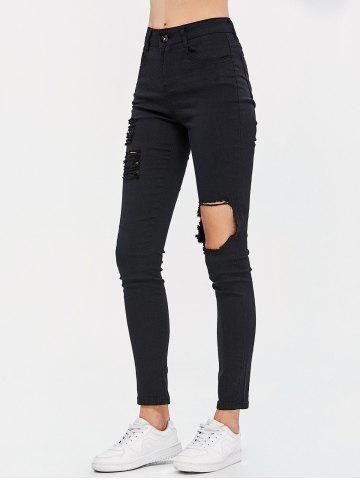 Buy High Waist Destroyed Bodycon Jeans - M BLACK Mobile