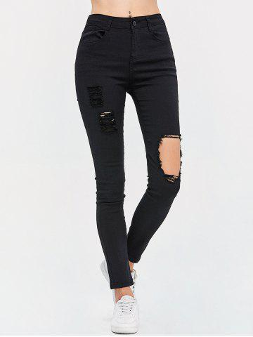 Store High Waist Destroyed Bodycon Jeans - M BLACK Mobile